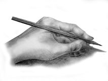 Hand with pencil. Drawn on paper Stock Photography