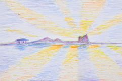Hand Pencil Coloring of Twilight Sky Stock Photography