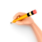 Hand and Pencil. 3d render of a hand holding a pencil Royalty Free Stock Photo