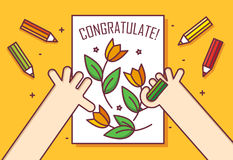 Hand with pencil draws a card with flowers. Congratulate! Thin line flat design card. Vector banner Stock Photo