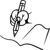 Hand with pencil. Illustrated clip art image Stock Image