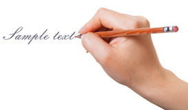 Hand with pencil Royalty Free Stock Photo