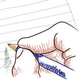 Hand, Pencil and Paper Sketch. Sketch or drawing of a hand holding a pencil and writing on lined paper Royalty Free Stock Photos