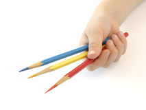 Hand with pencils. Child hand with three color pencils Stock Image
