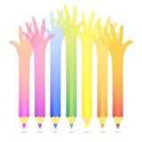 Hand Pencils Background Illustration Royalty Free Stock Photos