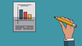 Data analysis statistics HD. Hand with pencils elaborating statistics report High definition animation colorful scenes royalty free illustration