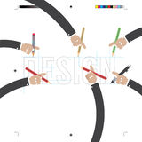 Hand With Pencils With Print Calibration Elements. Stock Photo