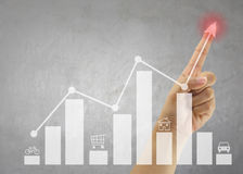 Hand of people point to highest bar graph. Hand of people point to highest bar graph for Presentation and publicity to promote your business stock image