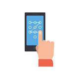 Hand performing touch gesture to unlock phone. Royalty Free Stock Images