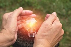 Hand of person holding light bulb for idea or success and solar. Energy concept Stock Images