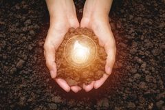 Hand of person holding light bulb with soil for idea, success Royalty Free Stock Photography