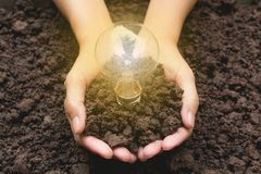 Hand of person holding light bulb with soil for idea, success Royalty Free Stock Photos