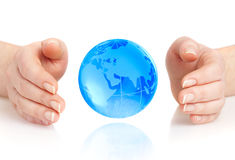 Hand of the person holds globe Royalty Free Stock Photo