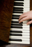 Hand of person playing piano. Overhead view of right hand of person playing piano stock photos