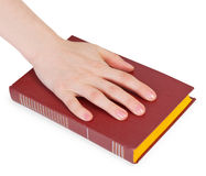 Hand of person reciting the oath on book stock images