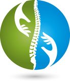 Hands and spine, orthopedics and physiotherapy logo, medicine logo, massage logo, people logo. Hand, Person and Spine, Orthopedics and Physiotherapy Logo Stock Photography