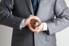 Hand Person Very Gently Holds Globuss Lizenzfreies Stockfoto