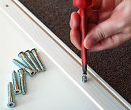 Hand with Phillips screwdriver and screws, furniture assembled. Royalty Free Stock Photo