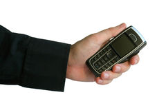 Hand with phone Stock Image