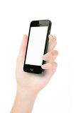 Hand with phone Stock Images