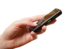 Hand with phone Royalty Free Stock Photography