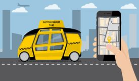 Hand with phone. On the device screen application for ordering a taxi. In the background, a self driving bus with a logo `Autonomous taxi`. Vector illustration Royalty Free Stock Photography