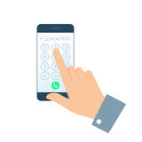 Hand and Phone. Dial number concept. Flat illustration of smartphone and hand. Businessman touching buttons with numbers on the mobile phone screen to make a Royalty Free Stock Image
