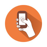 Hand with phone. This is an illustration of hand tapping phone Stock Photos