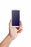 Hand phone. Man hand holding smart phone like iphones , isolated on white background Royalty Free Stock Photography