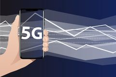 World`s fastest mobile internet 5G. Hand with phone. The screen shows 5G symbol. Data flow in the background. Vector illustration Stock Photos