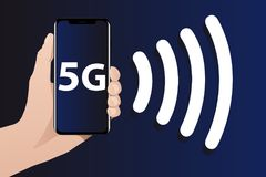 World`s fastest mobile internet 5G. Hand with phone. The screen shows 5G symbol. From the phone goes the signal. World`s fastest mobile internet Stock Images