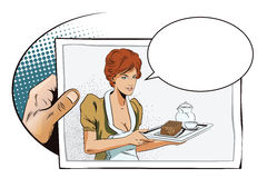 Hand with photo. Girl waitress with breakfast. Stock Photo