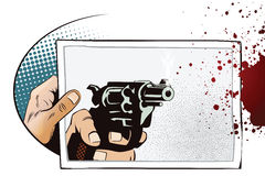 Hand with photo. Gun shoots on photo. Stock Image