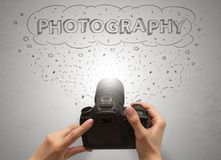 Hand photo shooting with message cloud concept Royalty Free Stock Photography