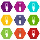 Hand photographs on smartphone icon set color hexahedron. Hand photographs on smartphone icon set many color hexahedron isolated on white vector illustration royalty free illustration