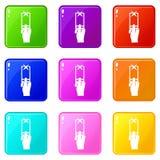 Hand photographs on smartphone icons 9 set Stock Photos