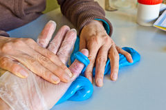 Hand physiotherapy to recover a Stock Photo