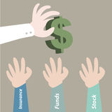 Hand pick dollar currency for investment Royalty Free Stock Photos