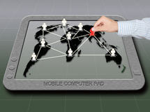 Hand pick man social network on touch pad Stock Photos
