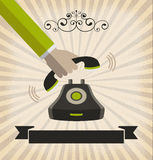 A hand pick up a phone with retro style Royalty Free Stock Images