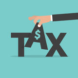 Hand Pick up TAX. Fee Levied Upon Incomes Stock Photos