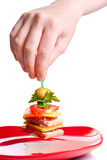 Hand picking appetizer sandwich from red plate Stock Image