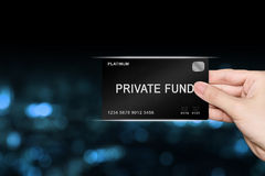 Hand picking private fund platinum card Stock Images