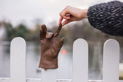 Hand picking up glove from a fence Royalty Free Stock Photography