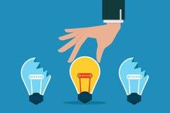 Hand picks idea bulb Stock Photos