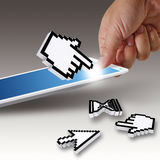 Hand picks tablet computer Royalty Free Stock Photo