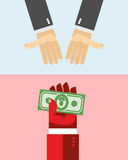 Hand picks up the money. Take Away Royalty Free Stock Photography