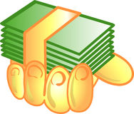 In hand pictogram of symbool van het geld Stock Foto's