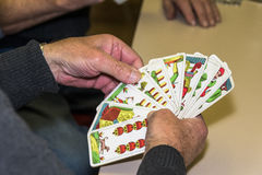 A hand of pictoral tarot cards during marisov karty Royalty Free Stock Images