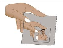Hand with picture. Of hand holding picture of man vector illustration